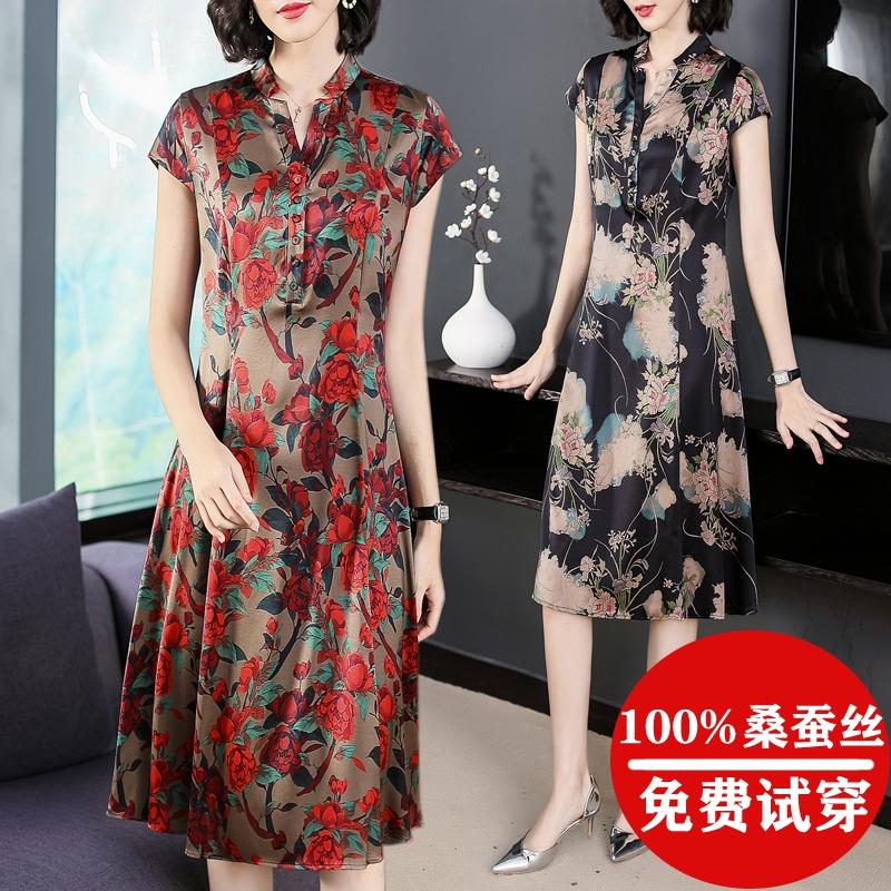 中老年真丝连衣裙女夏季中长款气质重磅高档品牌妈妈装桑蚕丝裙子