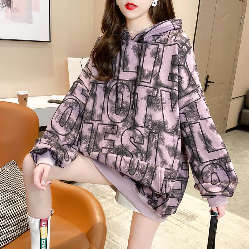 6131# (15%棉 85%纤维) 新款冬装加厚加绒连帽卫衣女