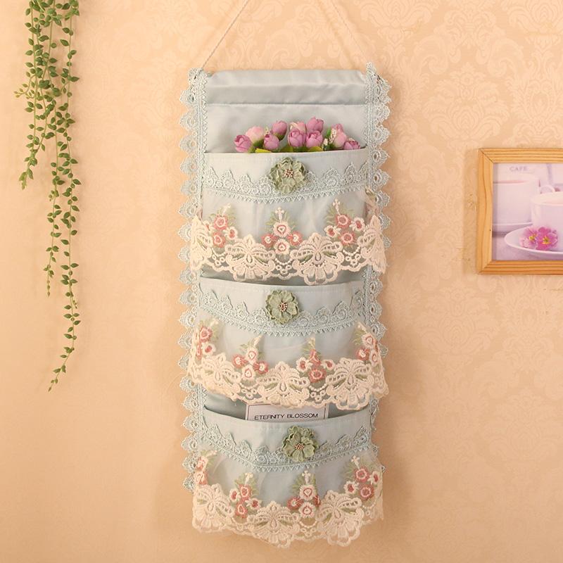 包邮多层欧式 蕾丝布艺挂袋 门后 墙壁收纳袋/杂物袋/整理袋
