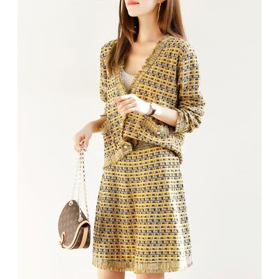 秋冬新款套装小香风洋气名媛通勤外套半裙两件套仙显瘦气质时髦潮