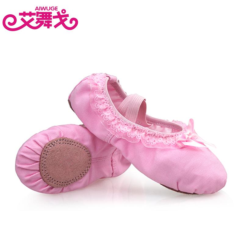 Лето ребенок танец обувной мягкое дно танцы обувной кружева бант балет обувной девушка красный практика гонг обувной