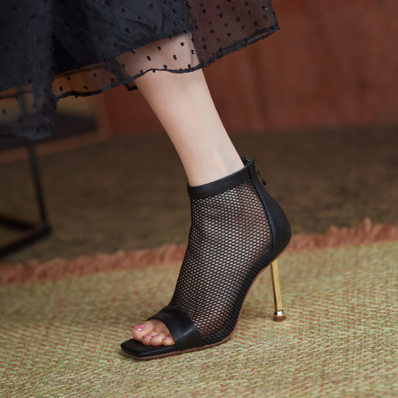 33-43 large square toe high heels womens 2021 spring and summer mesh Martin Short Boots fashion thin heel cool boots