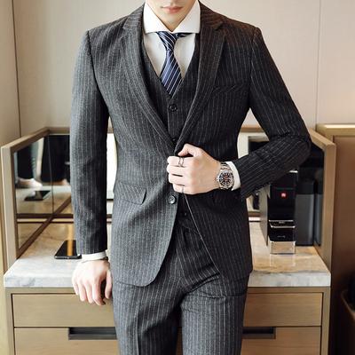 模特图-常年做货主推大货条纹西服套装三件套9636P245