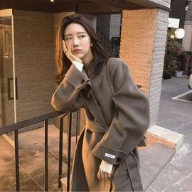 韩国东大门双面羊绒大衣女加长款过膝高端赫本宽松羊毛呢外套反季