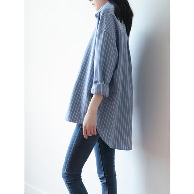 SS STUDIO衬衫女设计感小众 蓝白条纹宽松慵懒港味叠穿长袖上衣秋