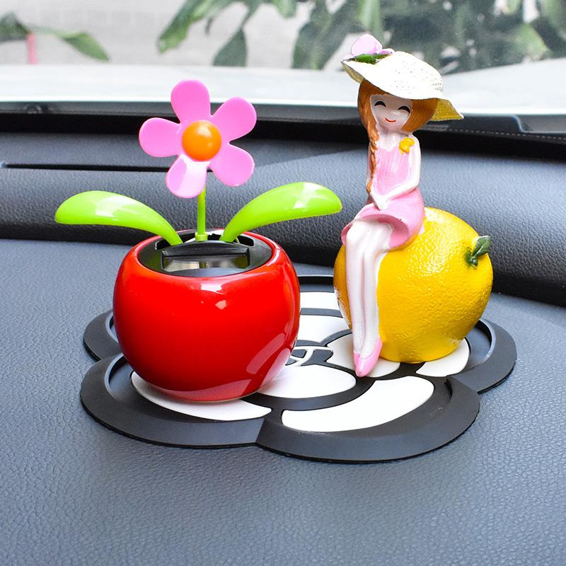 可爱摇头汽车内摆件太阳能苹果花车饰车上车载装饰品太阳花用品男