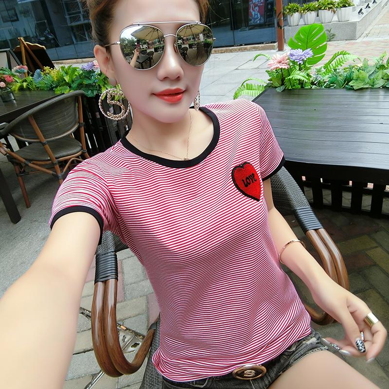 2018夏装新款短袖爱心休闲时尚显瘦条纹T恤打底衫实拍