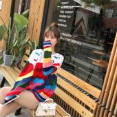 外套 彩虹毛衣女中长款 薄款 套头宽松慵懒风针织衫 时尚 2019新款 韩版