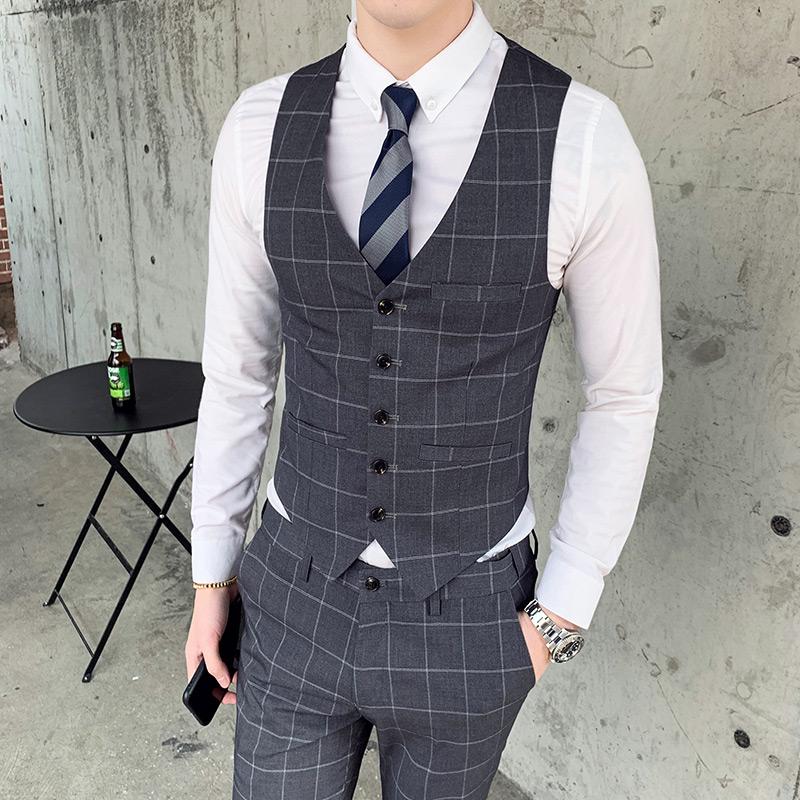 绅士英伦新款韩版修身格子马甲男休闲坎肩W8017/P60