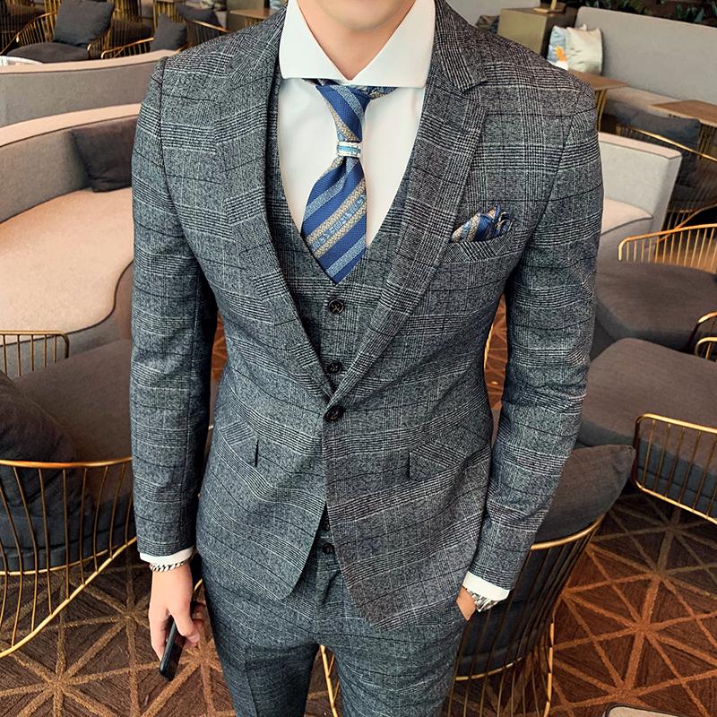 绅士英伦风韩版修身时尚潮流千鸟格西服套装男W9033/P305浅灰色