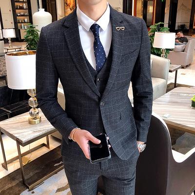 18年持续有货男士格子英伦绅士风西服男套装W7023/P285