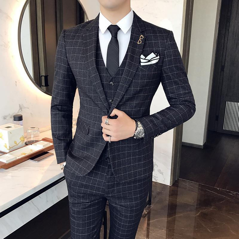 持续有货绅士英伦韩版修身格子西服套装男士礼服W7023/P285黑色