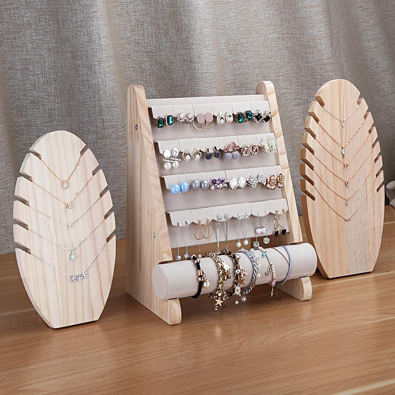 实木首饰展示架饰品收纳耳环架耳钉展示板项链手链架珠宝展示道具