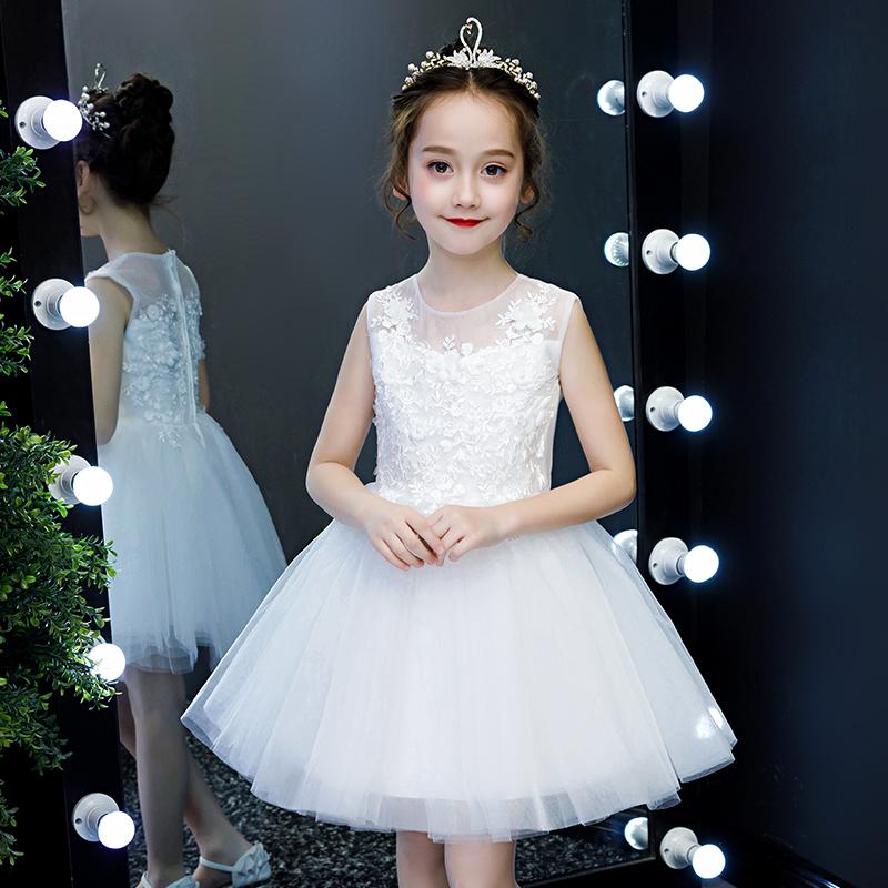2019新款女童礼服公主裙白色蓬蓬纱小女孩洋气裙子儿童连衣裙夏装12-02新券