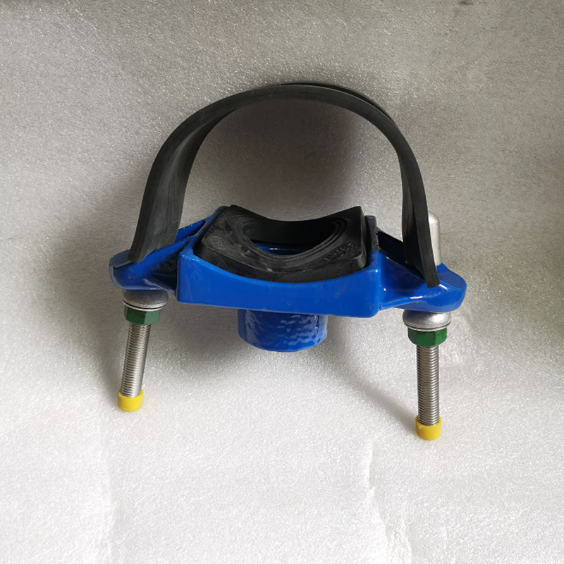 Ductile iron saddle shaped pipe bypass water distributor dn80x25 inner wire tapping DN 100x25 DN 125x25