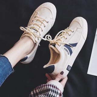 人本帆布鞋女学生韩版ulzzang板鞋2019新款夏复古港味百搭小白鞋