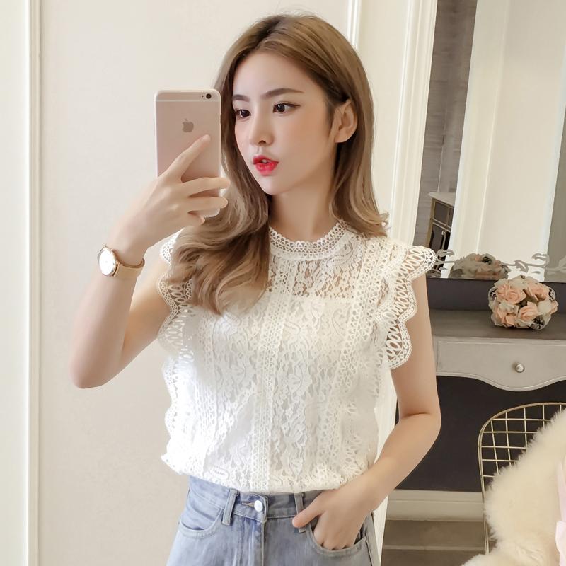 无袖白蕾丝仙女2020夏新款韩版衬衫