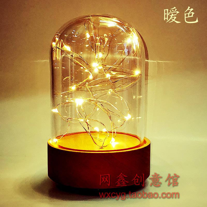 Warm light LED light emitting glass cover rotating music base manual simple creative DIY music box accessories