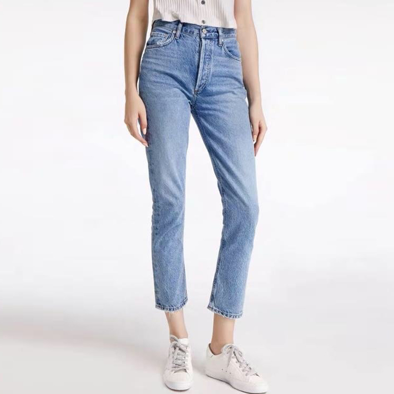 Spring and summer 2020 new Ag light blue high waist slim straight tube pipe jeans European and American hip lifting and belly closing pants