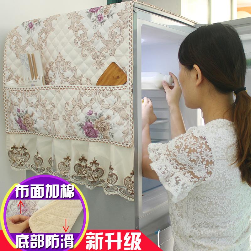 Плюс хлопка холодильник покрытия скольжение холодильник пылезащитный чехол холодильник обложка тканевая двойная дверь пыленепроницаемый ткань домой современный простой континентальный