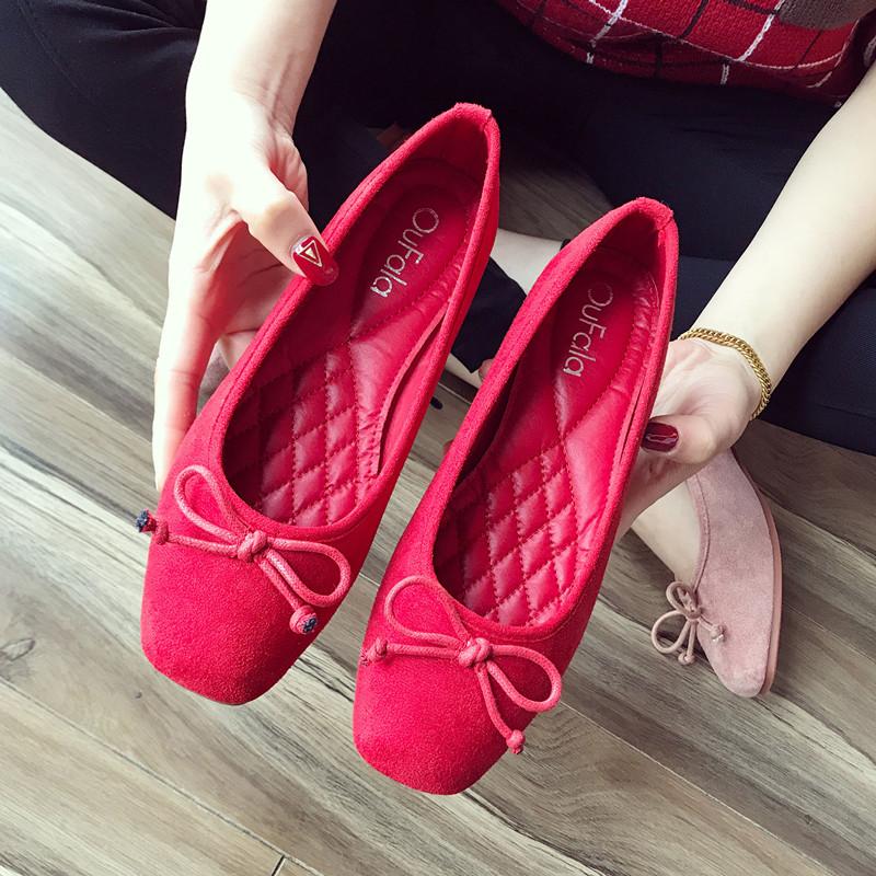 2020新款单鞋浅口方头平底鞋女舒适红色软底鞋芭蕾舞鞋蝴蝶结瓢鞋