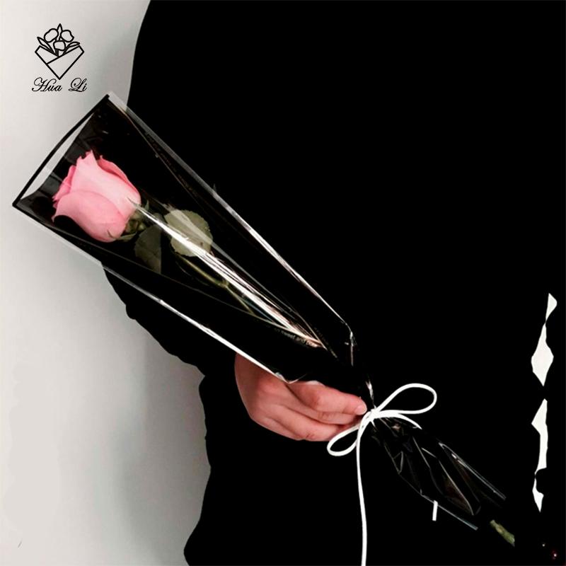 华丽鲜花包装diy材料包花纸花店用品蝴蝶结材料玫瑰金三角单支袋