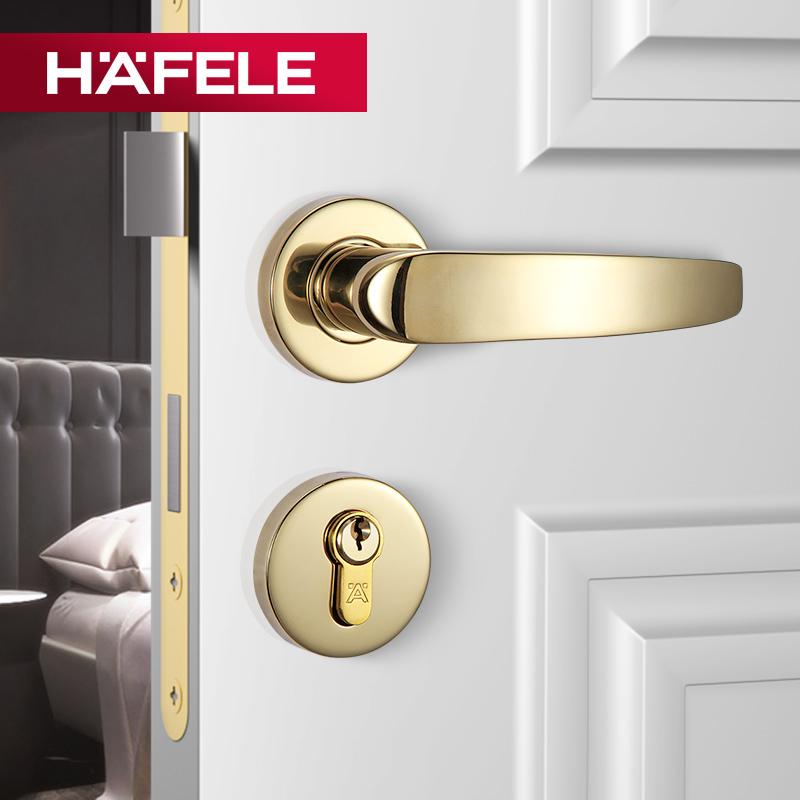 德国海福乐不锈钢执手锁分体锁房门锁室内简约实木卧室机械锁具,可领取20元天猫优惠券