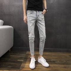 刮烂牛仔裤男青年修身小脚裤子韩版磨白潮流猫爪夏季蓝085/P80