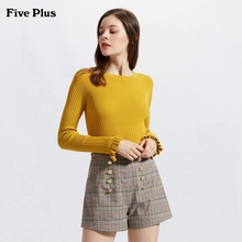 Five Plus2018 new women's autumn dress ins net red sweater female horn sleeve self repairing Pullover chic coat