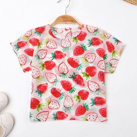 宝宝夏季草莓真丝上衣儿童桑蚕丝短袖T恤女童装小女孩韩版打底衫