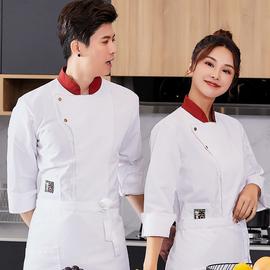 高档厨师服长袖透气时尚中国风酒店餐饮蛋糕烘焙店工作服纯棉秋冬