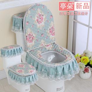 四季夏季金丝绒马桶垫三件套蕾丝布艺拉链式家用马桶垫坐垫坐便