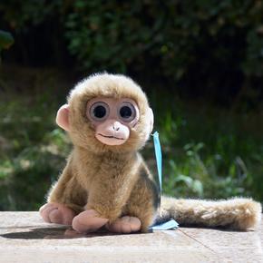 可爱大眼睛小猴子毛绒玩具棕色灰色仿真猴子玩偶公仔长尾巴猴玩偶