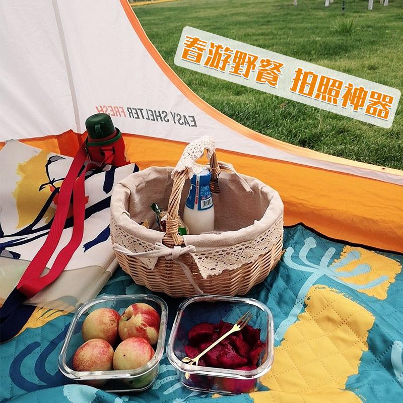 野餐用品小藤编手提户外郊游道具野炊收纳篮水果篮子野餐篮带盖筐