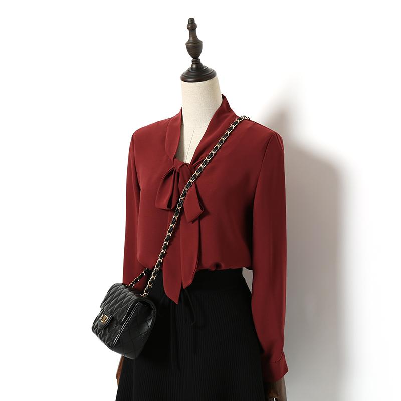简约气质OL纯酒红白色宽松捏褶潮绑带V领长袖雪纺衬衫女百搭韩范