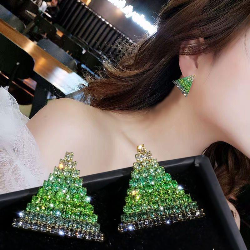 银针满钻三角形耳钉简约女小巧精致圣诞树耳环甜美百搭个性耳饰品图片