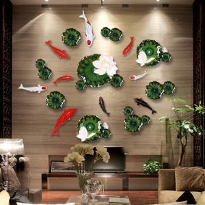 创意中式墙饰鱼 壁饰挂饰 电视沙发酒店背景墙面软装 家居装饰品
