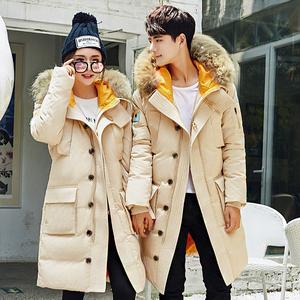 2017新款學生青年中長款羽絨服男士韓版修身加厚大毛領羽絨服過膝