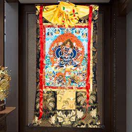 大威德金刚唐卡刺绣布料装裱西藏唐卡装饰挂画大威德金刚唐卡佛像