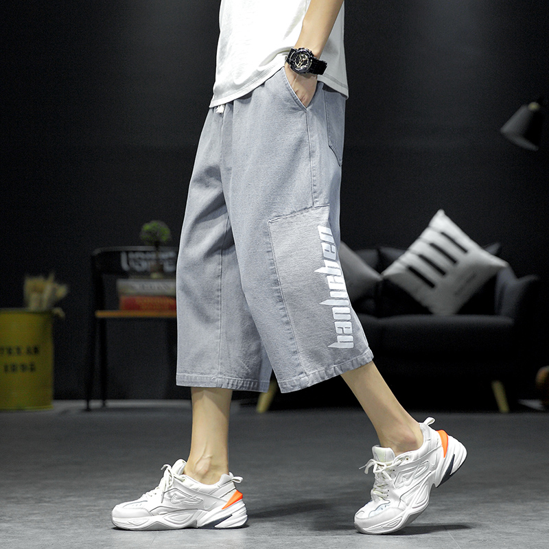 2020 summer style simple fashion loose straight tube jeans pants letter printed wide leg Capris mens pants