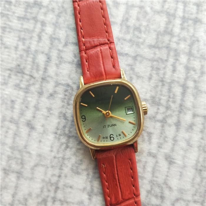 国产腕表库存全新宝石花牌数字盘日历机械真皮表带女手表古董老表