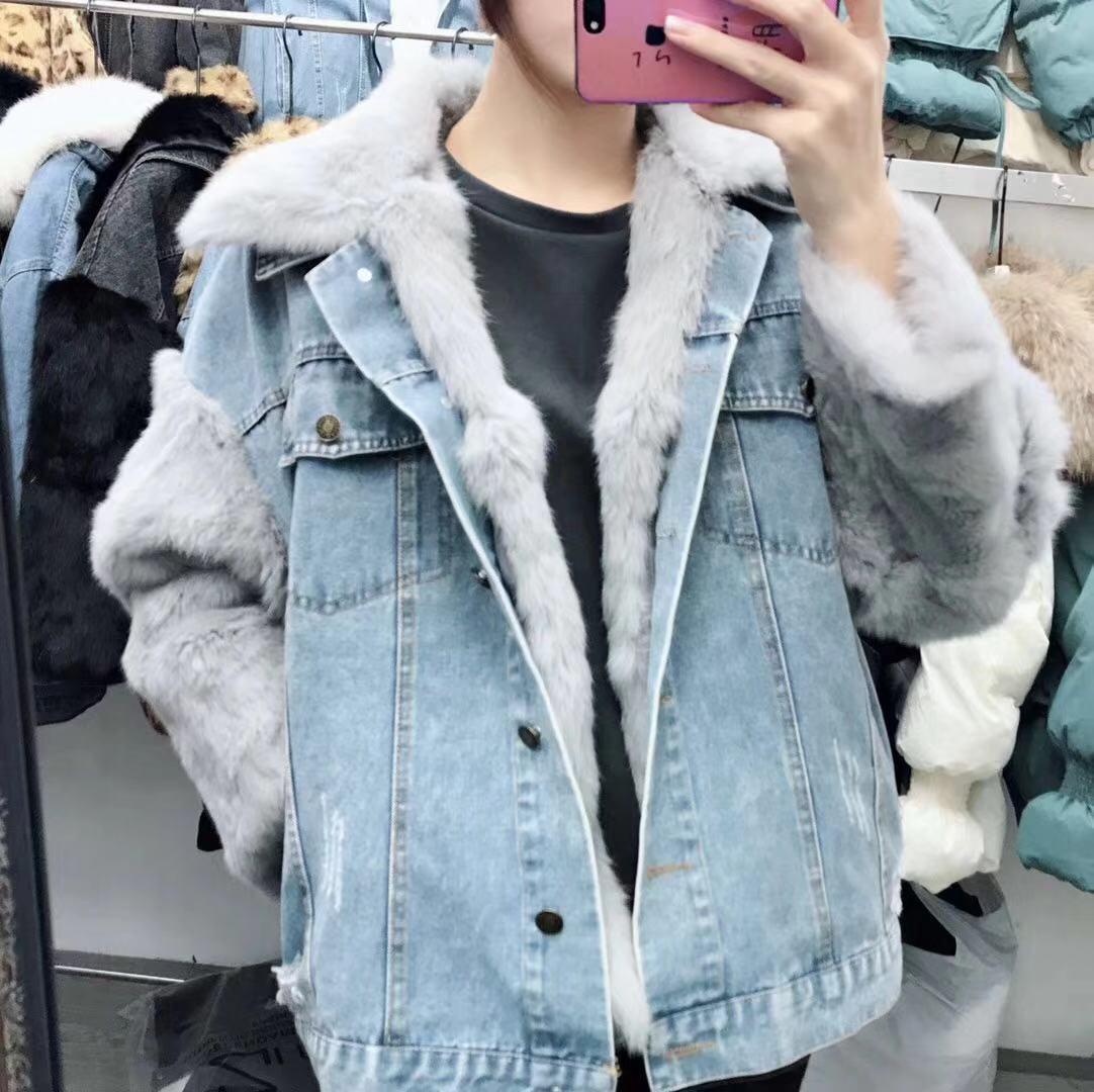 冬季新品韩国正版自然真兔毛内胆皮草拼接袖子牛仔外套两件套女