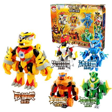 猪猪侠光明守卫者 五灵卫酷炫智变5合1变形机器人全套男孩玩具