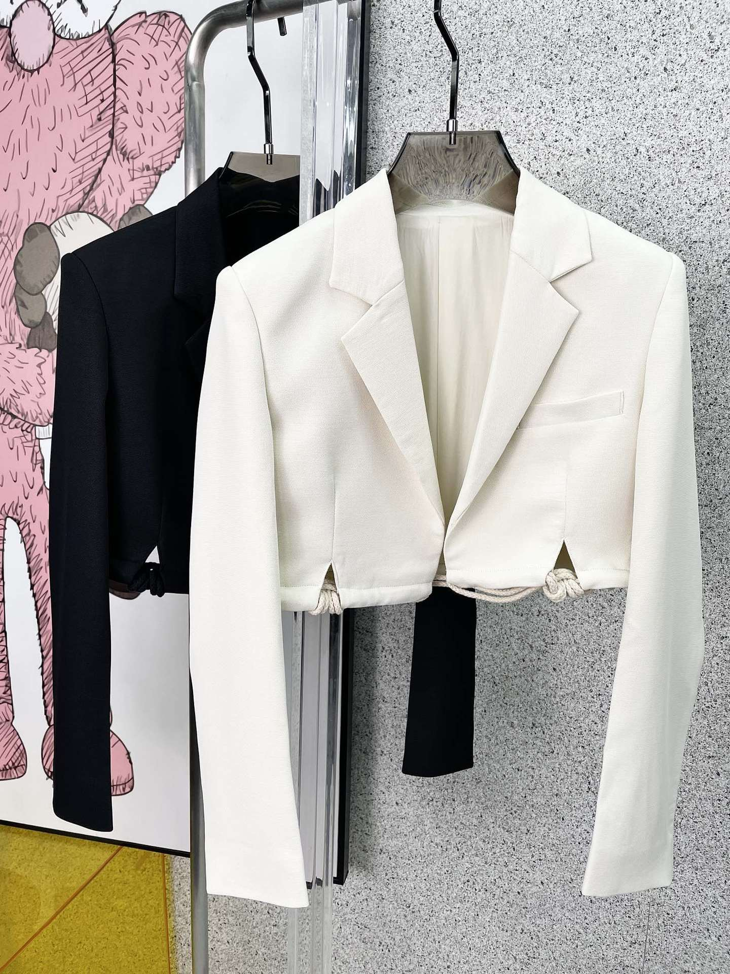 Spring and summer suit collar solid color fashion temperament single breasted temperament commuter knot woven suit jacket