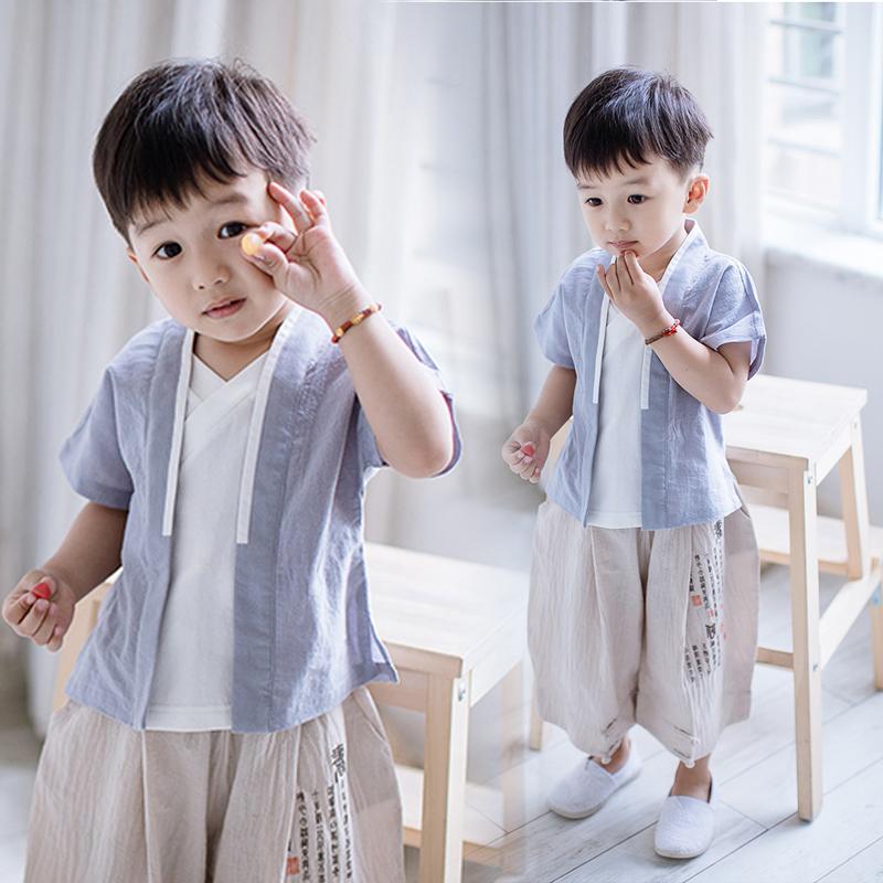 男童汉服夏中国风童装唐装古装假两件男宝宝灯笼裤儿童阔腿裤套装