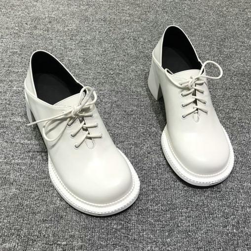 学院风2020春款大头鞋真皮踩跟两穿高跟女单鞋粗跟黑色英伦小皮鞋