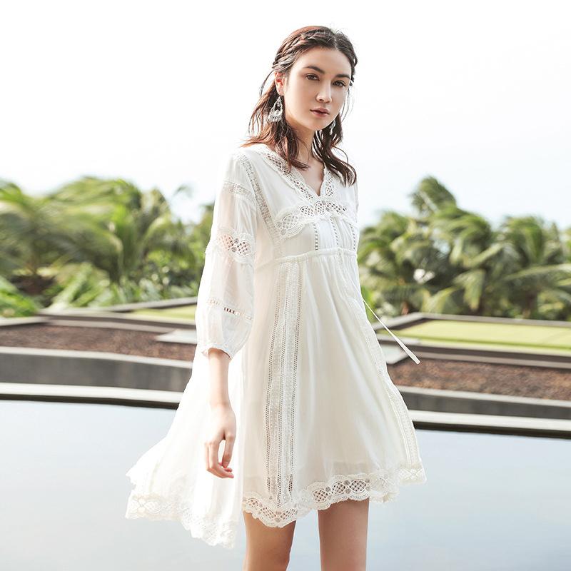 海南三亚海边度假女装沙滩裙海滩裙泰国旅游出游衣服海岛裙遮肉夏
