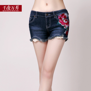 Flagship store genuine 2020 new embroidered lace lace denim Waist Shorts womens summer 31170044 package mail