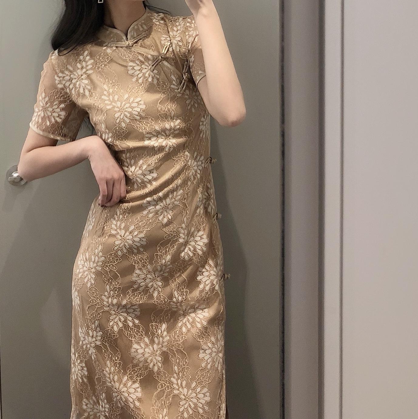新式旗袍连衣裙改良年轻款超仙蕾丝法国复古裙山本过膝长气质少女
