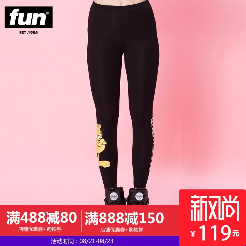 Fun潮牌秋季新款黑色针织裤加菲猫可爱小脚休闲长裤女款